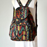 Hippie Style School Messenger Backpack Canvas Bag Camping Travel Everyday Bag WBP818