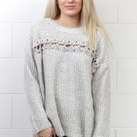 Sewn Across Marled Knit Sweater {Ivory Mix}