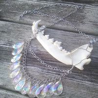 Angel Aura Jaw Bone Necklace,Coyote Bone ,Real animal Bone Jewelry,Wiccan Pagan Necklace, Shaman Gypsy Jewelry, Warrior Larp Cosplay Jewelry