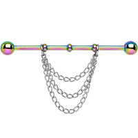 Handcrafted Rainbow Titanium Chain Dangle Industrial Barbell | Body Candy Body Jewelry
