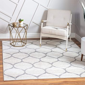 Geometric Rounded Trellis Frieze Rug (Square, Oval, & Octagon)