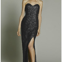 Strapless Long Evening Gown Sweetheart All-Over Sequin Dress