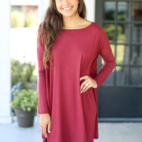 Piko Tunic Dress Long Sleeve- Burgundy