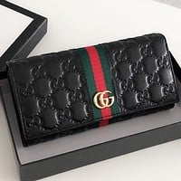 GUCCI New fashion stripe more letter leather wallet purse handbag Black
