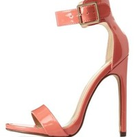 Salmon Single Sole Ankle Strap Heels by Charlotte Russe