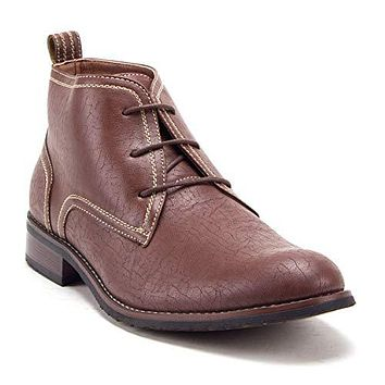 Men's 917129 Ankle High Distressed Lace Up Round Toe Chukka Dress Boots