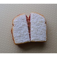 Strawberry peanut butter and jelly sandwich magnet, polymer clay realistic food fridge magnet