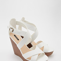 Strappy Faux Leather Wedge Sandals