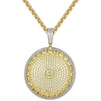 Solitaire Yellow Simulated Diamonds Medallion Pendant Exclusive