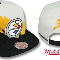 Steelers PAINTBRUSH SNAPBACK White-Gold-Black Hat by Mitchell & N