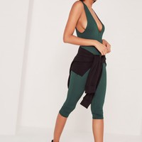 Missguided - Ribbed Sleeveless 3/4 Leg Jumpsuit Green