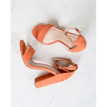 Sassy Ankle Strap Chunky Heels in Ash Coral Suede