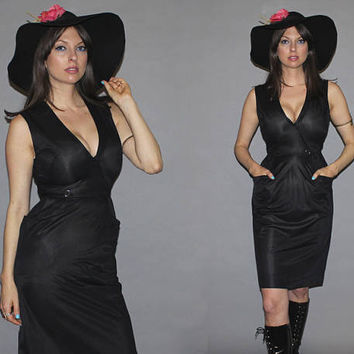 Vintage 60s Black Mod Dress / LOVE WITCH / V-Neck, Sleeveless / Semi Sheer, Sexy Bodycon / Goth / Small