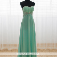 Mint Chiffon A-line Long Prom Dresses, Evening Dresses, Prom Dresses 2014, Military Ball, Formal Dresses