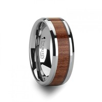 ORANE Tungsten Wedding Band with Bevels and Rosewood Inlay