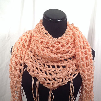 Light Coral Fringed Mesh Triangle Crochet Scarf