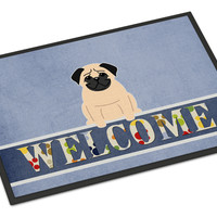 Pug Fawn Welcome Indoor or Outdoor Mat 18x27 BB5589MAT