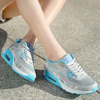 Fashion Casual Multicolor Print Stitching Breathable Net Air Cushion Sneakers Women Running Shoes
