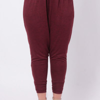 Plus Size French Terry Ruched Jogger - Burgundy
