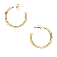 House of Harlow Modern Revival Hoop Earring in Gold & White Pave