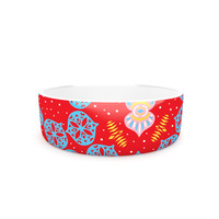 """Miranda Mol """"Frosted Red"""" Blue Pet Bowl"""