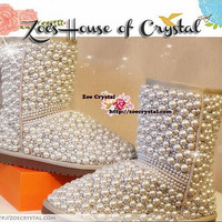 WINTER White Short Sheepskin Wool Boots with elegant and fashionable PEARLS and CRYSTALS