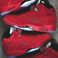 Nike Air Jordan 5 Retro Red Suede Basketball Shoes Sneakers