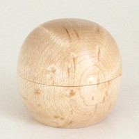 Tiny Handcrafted Sphere Box Turned in Birdseye Maple