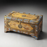 Butler Specialty Nador Painted Brass Inlay Storage Trunk - 3365290