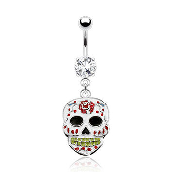 Sugar Skull Belly Ring White Navel Ring Body Jewelry Piercing Jewelry 14ga