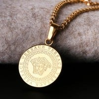 Versace New fashion human head pendant necklace women Golden