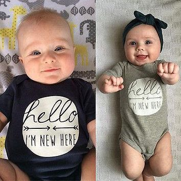 2016 Hot Newborn Infant Baby Boy Girls Geometric Romper Jumpsuit Clothes Outfit