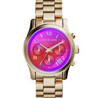 Michael Kors Mid-Size Golden Stainless Steel Runway Chronograph Watch