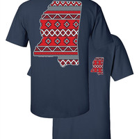 Southern Couture Mississippi Aztec State Pattern Navy Girlie Bright T Shirt