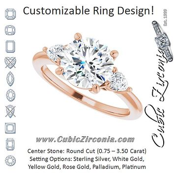 Cubic Zirconia Engagement Ring- The Zhata (Customizable 3-stone Round Style with Pear Accents)