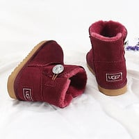 UGG New Diamond Buckle Couple Mid-cut Snow Boots Shoes