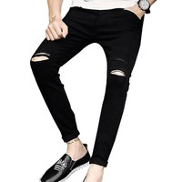 new skinny Men's jeans slim fit hole straight Stretch Ripped Design Nine jogger pants casual Ankle Zipper man Jeans famous brand