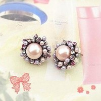 $3.99  Lovely Multicolor Rhinestone Pink Pearl Stud Earrings at online Cheap Fashion jewelry store Gofavor