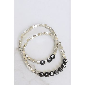 I Am Blessed Beaded Bracelets Set in Silver Tone