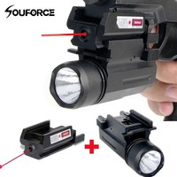 Tactical Rifle Lights with Red Laser Sight Glock Flashlight Combo Hunting Laser for Pistol Guns Glock 17,19, 22 Series