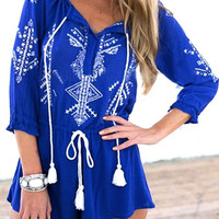 Blue Printed Romper With Drawstring Detail