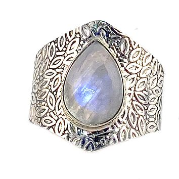 Moonstone Pear Sterling Silver Vine Pattern Band Ring