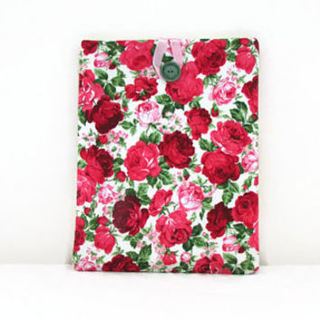 Rose print Ipad cover, pink rose print fabric large tablet case, for IPad 2 or Ipad Air 2, padded Ipad sleeve, handmade in the UK