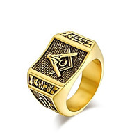 Intionix Shop Personality Man Plating 18K Gold Ring