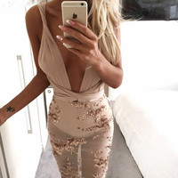 Women Backless Cross Strap Evening Party Dresses New Sexy Deep V Neck Gold Patchwork Sequin See Through Tie Back Club Mini Dress