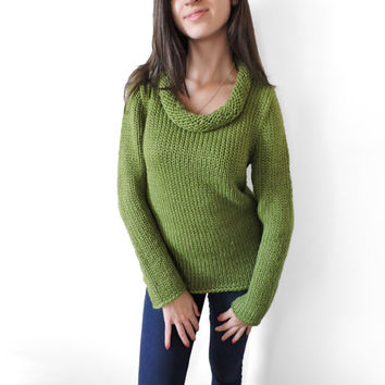 FREE SHIPPING Long sleeve sweater Wool sweater Olive Green Cozy Soft Winter Autumn Polo-neck sweater Long sleeve blouse Turtleneck sweater