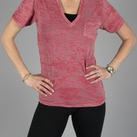 Alternative Apparel Burnout Deep V-neck w/ Pocket  - Cherry