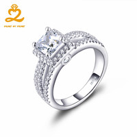 HeartByHeart Big Men's Ring White Gold Setting Square Stone Women Gift for Wedding Engagement Rings Body Jewelry Decoration Box