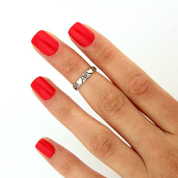 sterling silver knuckle ring Heart and flower design above knuckle ring adjustable midi ring (T-72) Also Toe ring