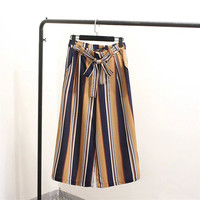 Women's Fashion Summer High Rise Stripes Waistband Pants [4919990852]